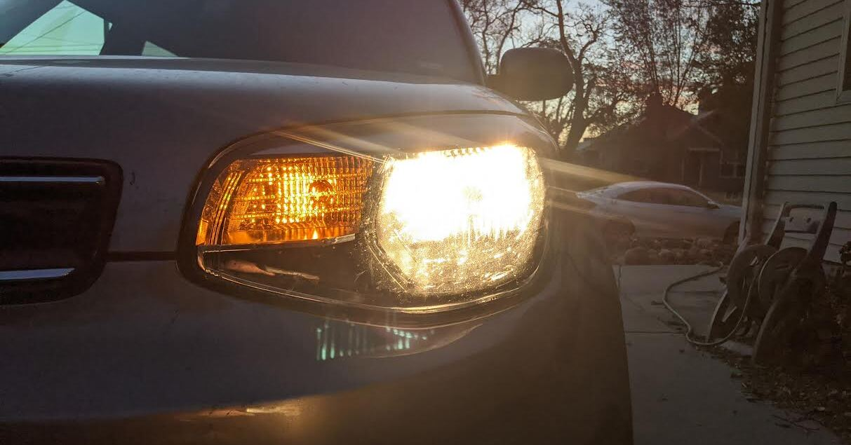 A headlight in need of alignment.
