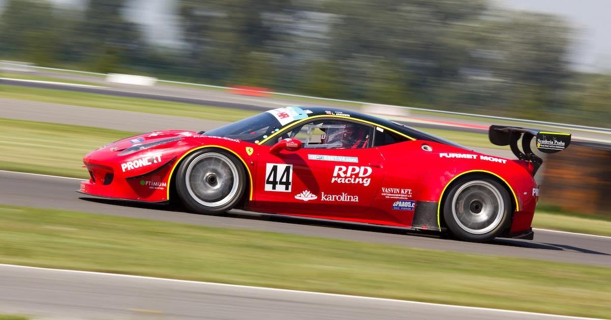 A race car on a race track.