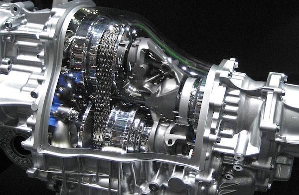 A CVT transmission cutaway.
