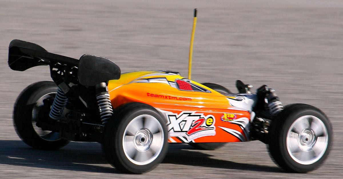 An electric RC car in motion.