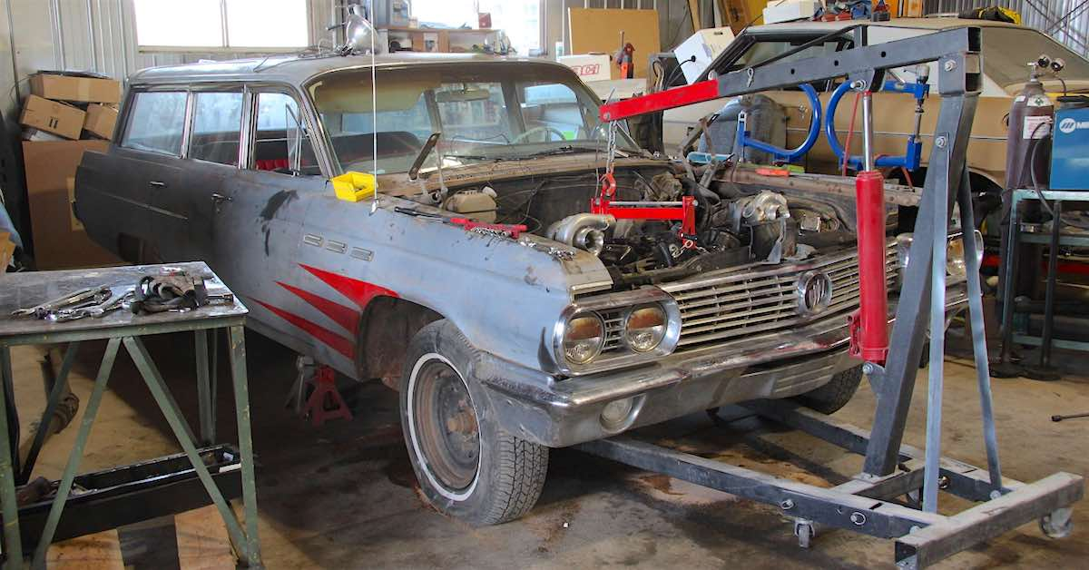 A Buick wagon getting a turbo engine transplant