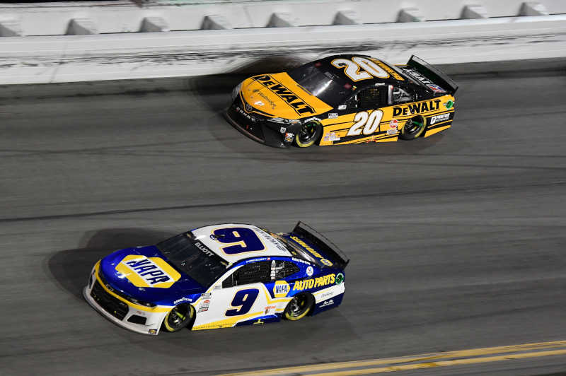 #9: Chase Elliott, Hendrick Motorsports, Chevrolet Camaro NAPA Auto Parts #20: Christopher Bell, Joe Gibbs Racing, Toyota Camry DEWALT