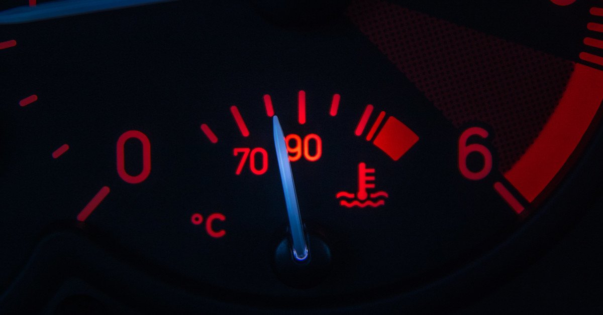 The engine temperature gauge in the instrument cluster of a car.