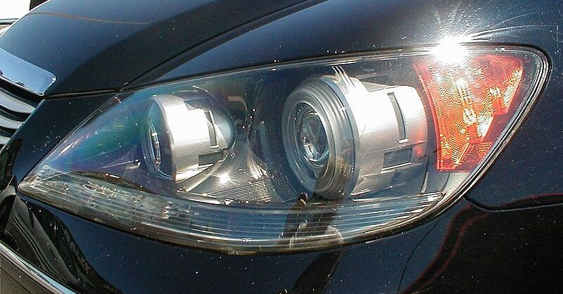 A car's headlight array as viewed from the outside of the vehicle.