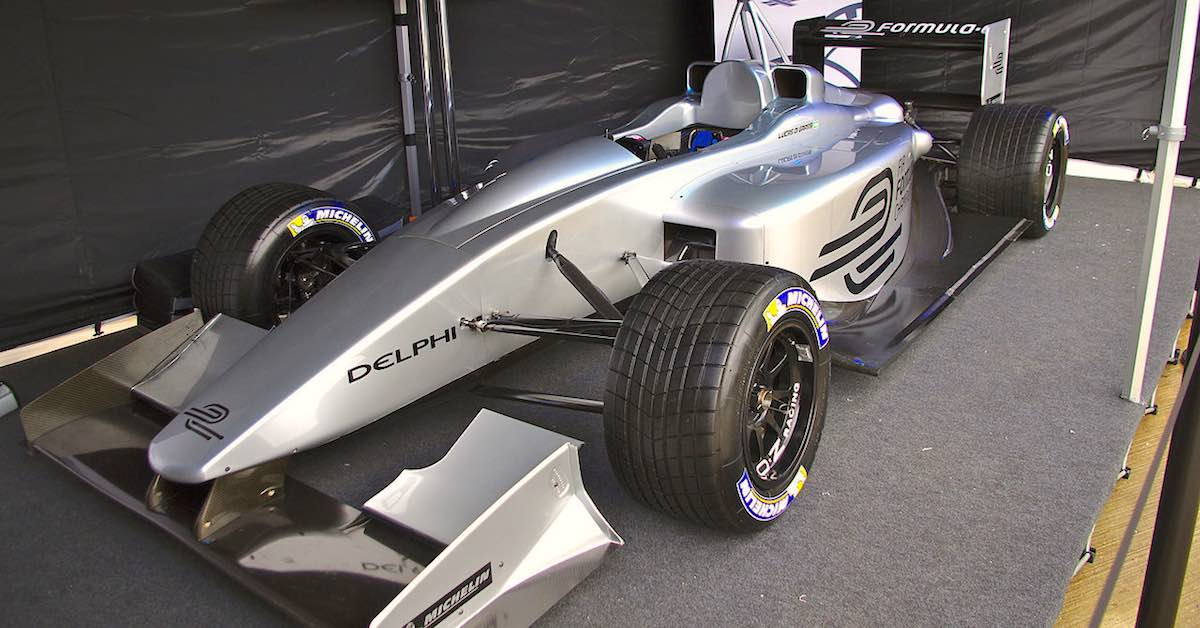A Formula E electric racing car.