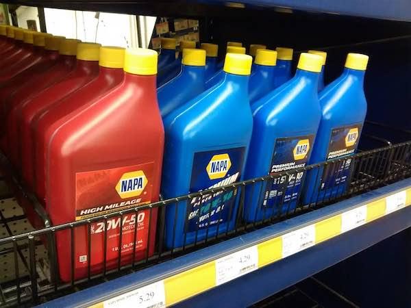 motor oil on a shelf