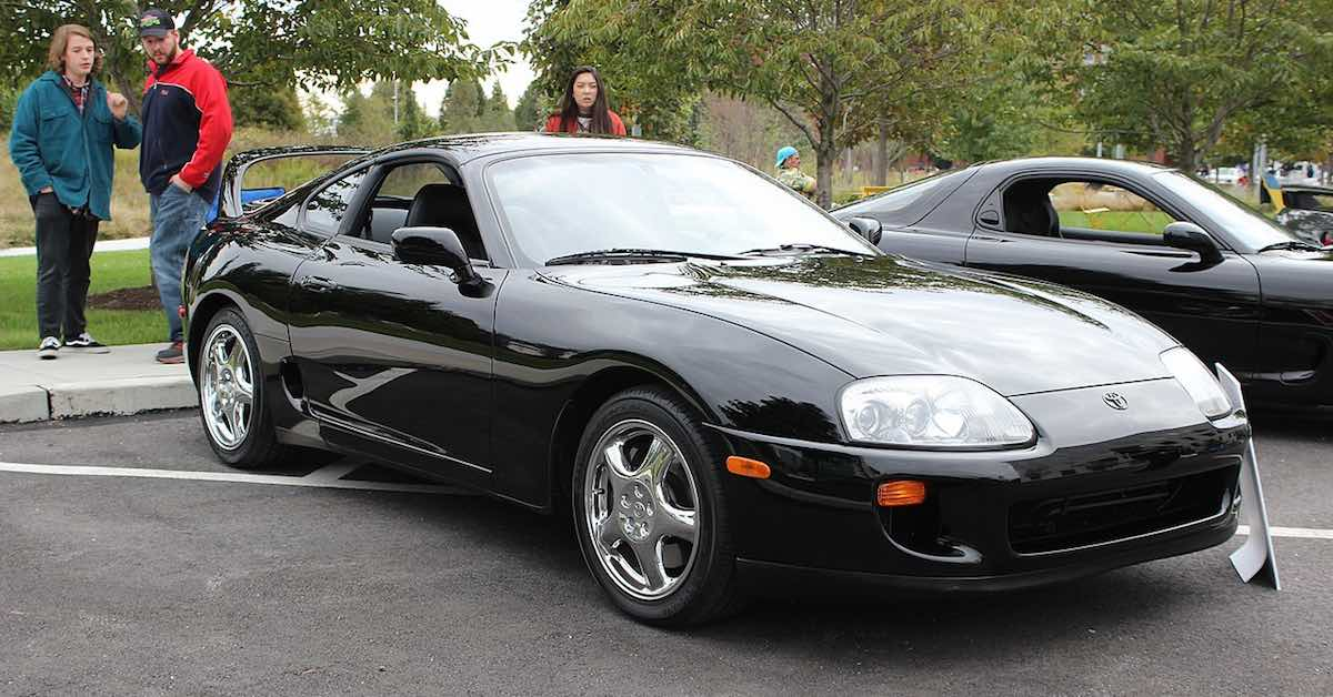 A black Toyota Supra Turbo.