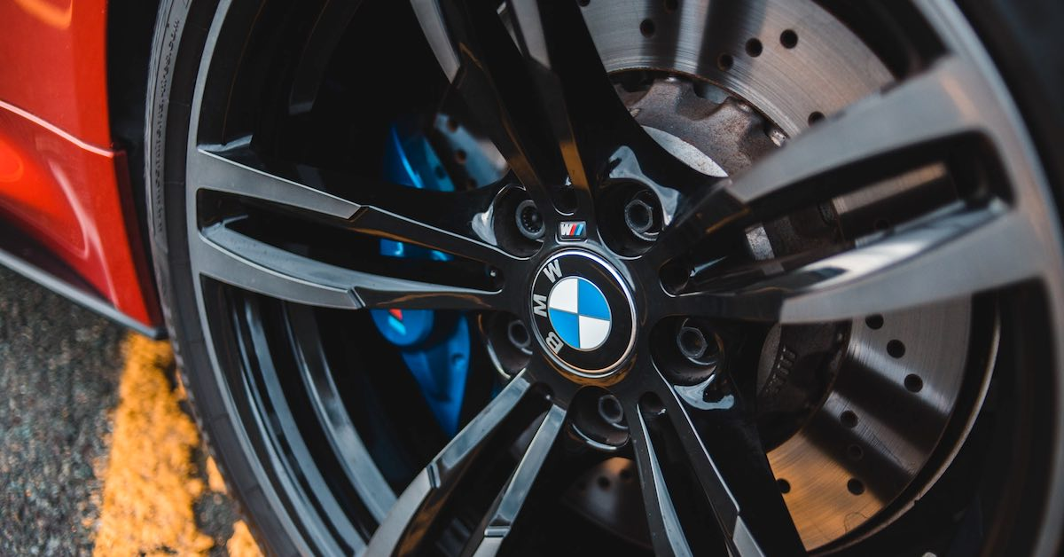 The sporty alloy wheel of a high-end German car.