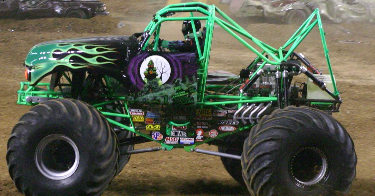 The monster truck Grave Digger in action.