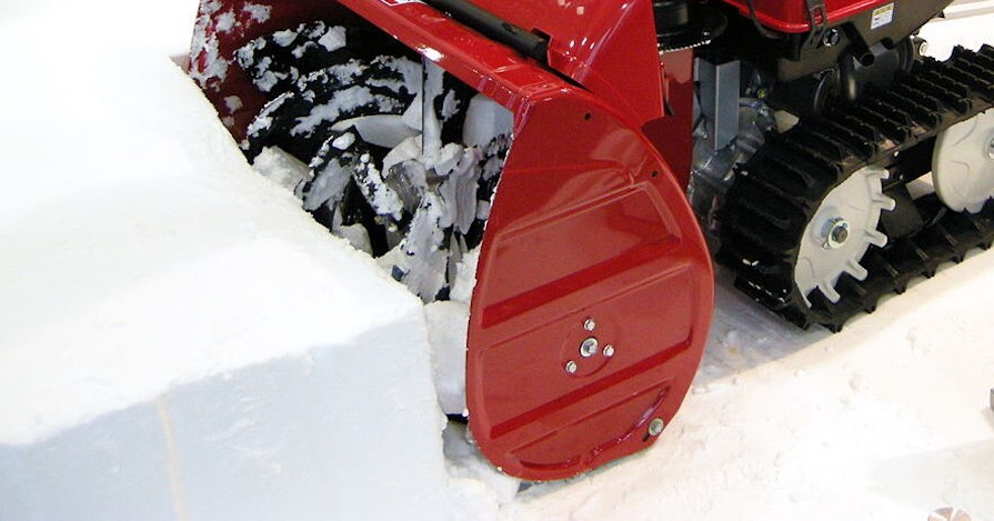 A snow blower in use.