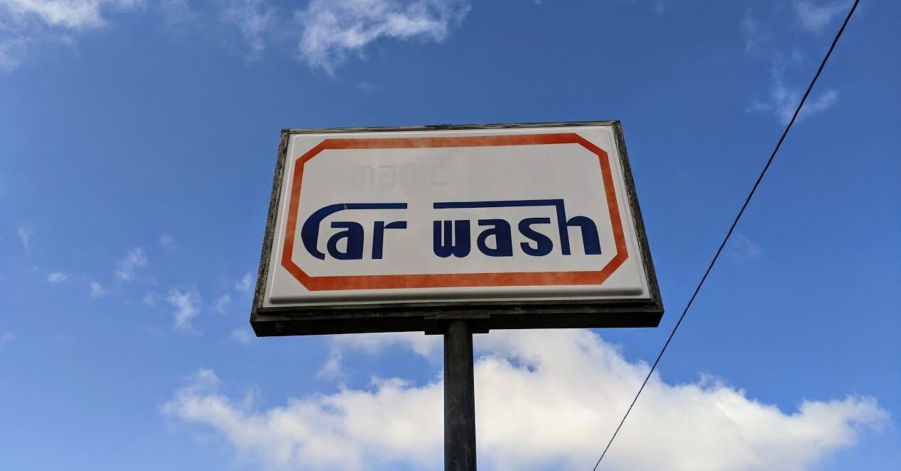A car wash sign