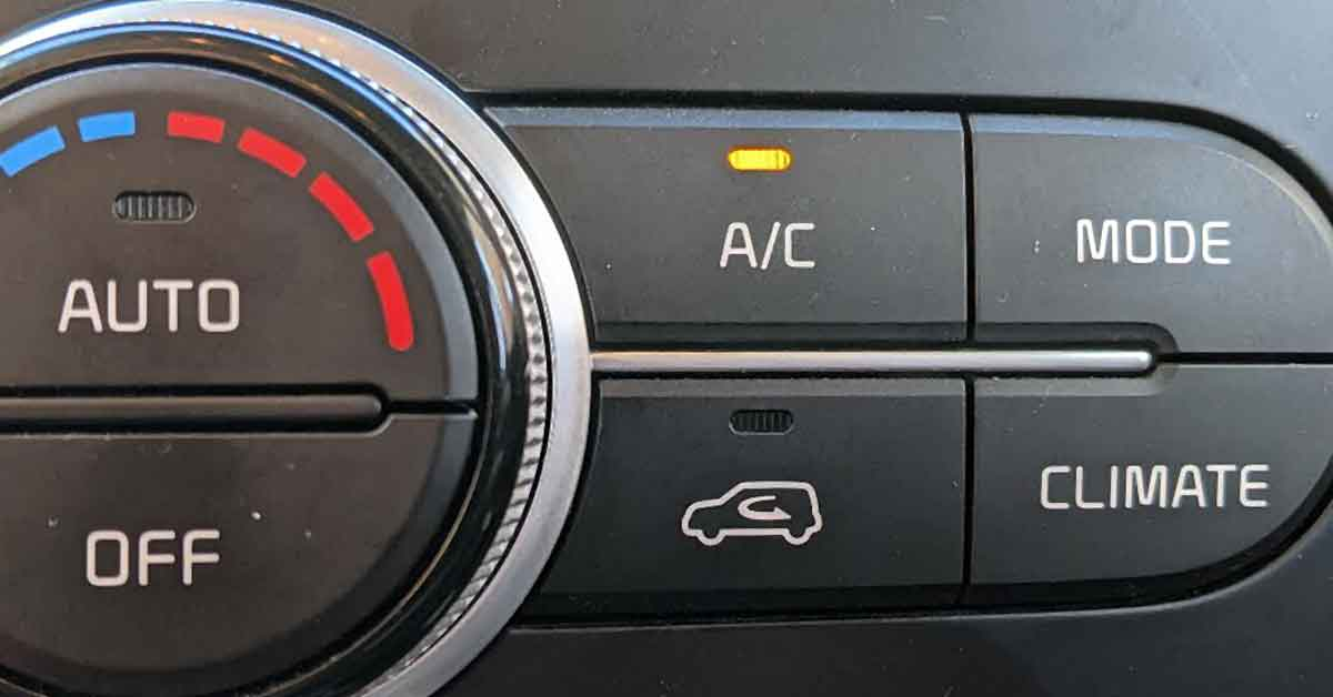 AC controls on the dashboard of a car