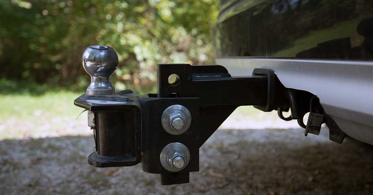 A hitch on the back of a vehicle.