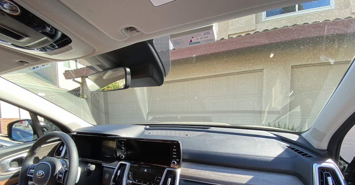 The inside of a vehicle windshield.