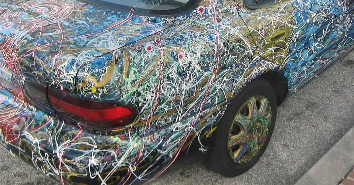 An art car covered in paint