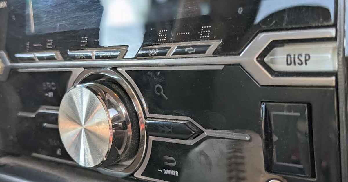 An aftermarket car stereo installed in a car.