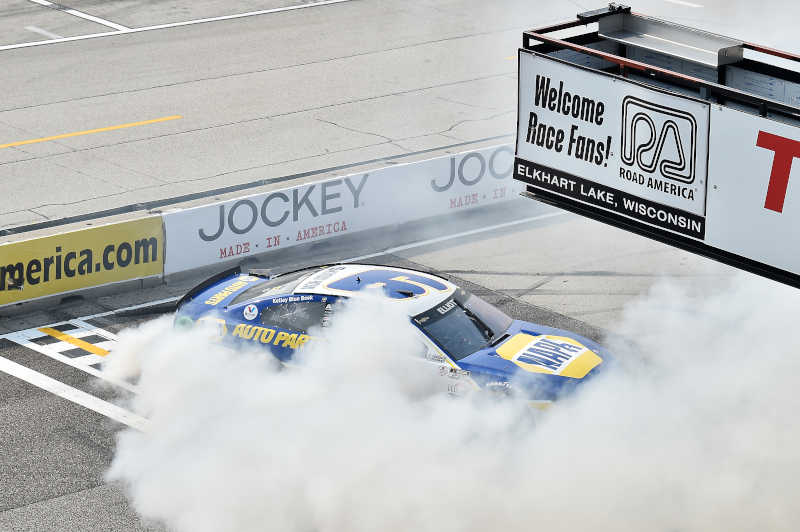 #9: Chase Elliott, Hendrick Motorsports, Chevrolet Camaro NAPA Auto Parts, celebrates after winning in Road America.