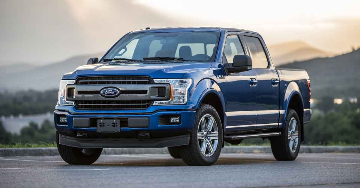 A blue Ford truck.