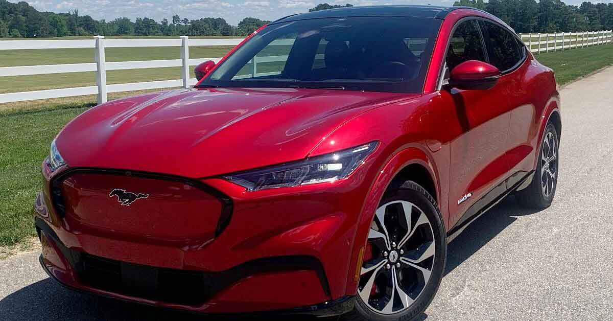 A 2021 Ford Mustang Mach-e Electric Crossover Utility Vehicle.