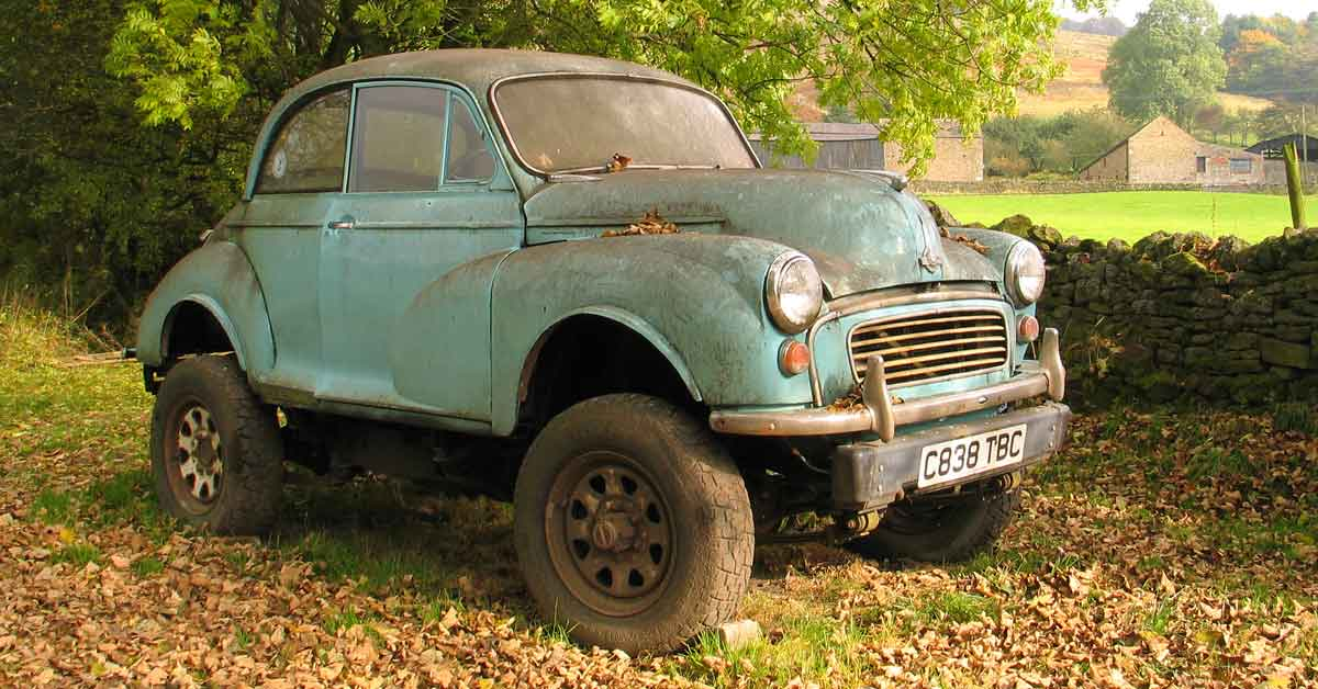 An Old Morris Minor Off-Road.