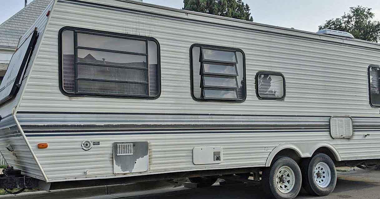 A classic camper trailer.