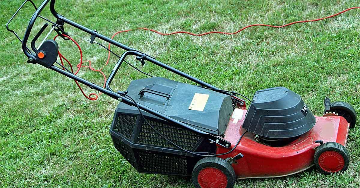 An electric lawn mower.