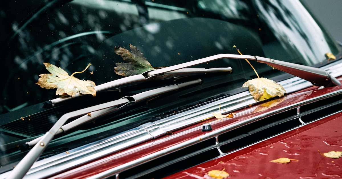 Wipers on a red car.