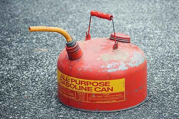 Red can for gasoline.