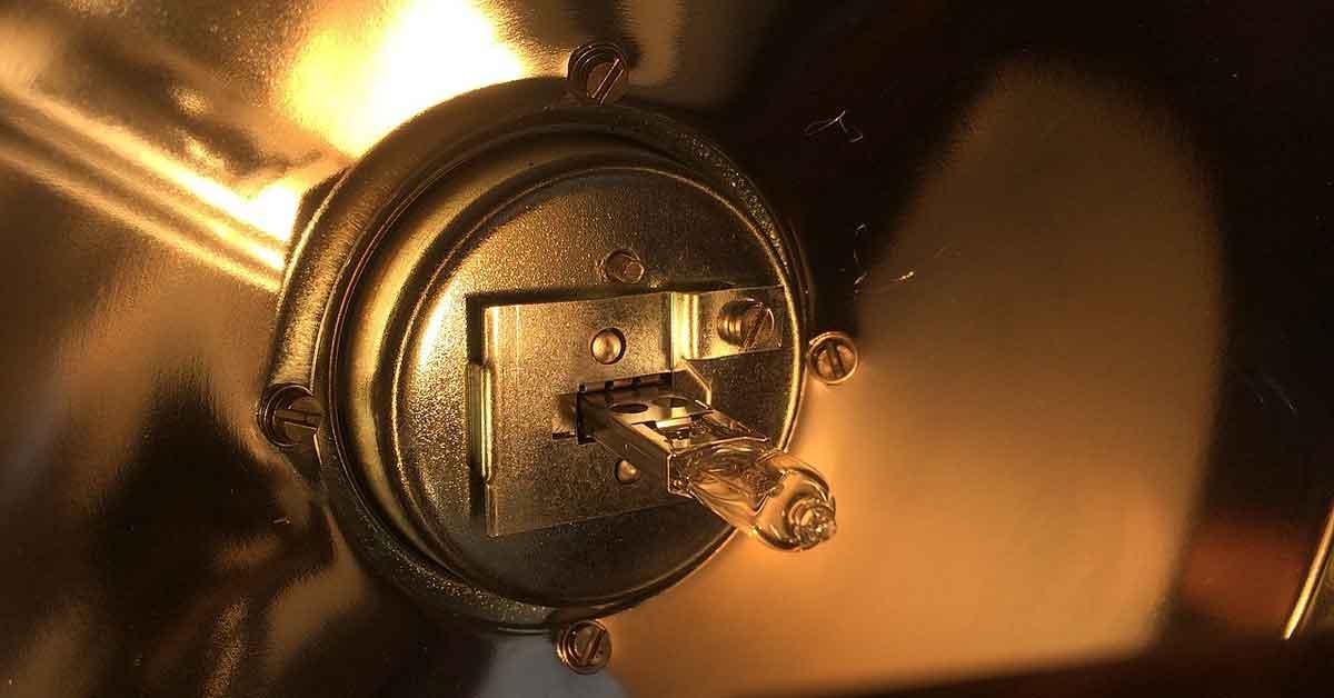 A halogen lamp bulb.